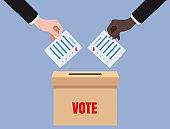 Hands putting voting blancs papers in vote box, ballot campaign. Vector isolated illustration