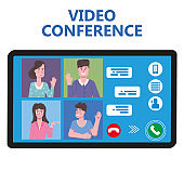Video conference people on computer screen talking by internet in videocall, chat. Online meeting team working from home workspace remote management communication meeting. Vector illustration isolated trendy flat style