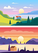 Set Summer sunset seaside landscapes. Sea ocean nature hills fields mountains blue sky clouds sun house countryside. Trees and grass rural land. Flat cartoon trendy style vector illustration