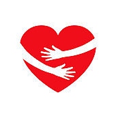 Hugging heart, charity icon, hands holding heart, arm embrace love yourself, organization of volunteers, family community – vector