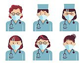 Medical workers symbol avatars. Vector doctors portrait in masks isolated on white. Hospital staff in uniform.