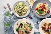 Plates of pastas
