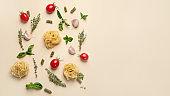 Colorful minimalist Italian food pattern