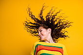 Profile photo of funky crazy girl close eyes toothy smile chill have fun wear striped cropped sweater isolated yellow color background