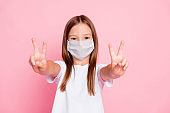 Photo of lovely adorable kid girl make v-sign wear medical mask good look outfit isolated pastel color background