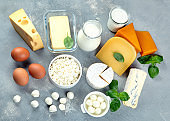 Different types of fresh farm dairy products.