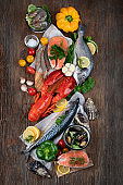 Assortment of fresh raw fish and seafood