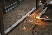 Worker labor welding wire metal