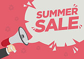 Summer Retail Sale promotion shoutout with a megaphone speech bubble against a red background.