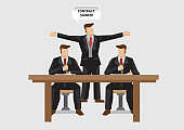 Business Contract Signing Cartoon Vector Illustration