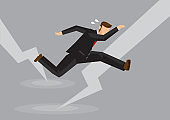 Creative cartoon vector illustration of businessman in suit attack by thunder.