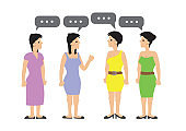 Happy group of women talking, gossiping and having fun. Concept of casual communication.