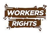 Typographic of workers rights.