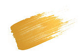 gold texture paint stain on white background