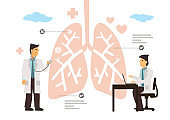 Lungs inspection check by healthcare doctors. Pulmonology concept.