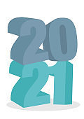 2021 Happy New Year 3D block text lettering against white background.