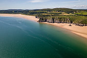 Aerial view of the Welsh coastline