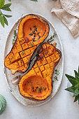 Roasted butternut squash pumpkin and herbs