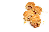 Sausage roll on white background