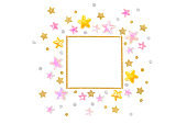 Pink gold glitter star square frame on white background