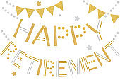 Happy retirement bunting paper cut on white background