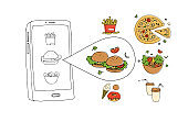 vector illustration about online food delivery. food ordering process. sketch style. remote food delivery
