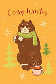 Postcard with a cute cat in a scarf and the inscription Cozy Winter. Vector graphics.