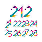 Years Anniversary Set Full Color Vector Template Design Illustration