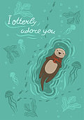 Postcard with sea otter and crab and the inscription I otterly adore you . Vector graphics