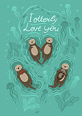 Postcard with sea otter and crab and the inscription I otterly love you . Vector graphics