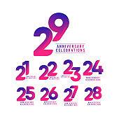 29 Years Anniversary Celebrations Vector Template Design Illustration