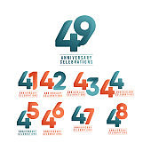 49 Years Anniversary Celebrations Vector Template Design Illustration