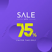 Sale up to 75% Limited Time Only Label Tag Vector Template Design Illustration