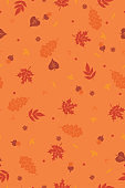Autumn seamless pattern with leaves. Vector graphics.