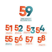 59 Years Anniversary Celebrations Vector Template Design Illustration