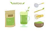 Tea Matcha Vector Set.