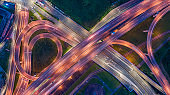 Traffic Circle roundabout Aerial View - Traffic concept image, traffic circle roundabout bird's eye night view use the drone in Taipei, Taiwan.