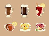 Set Of Winter Hot Beverages In Glass Cups
