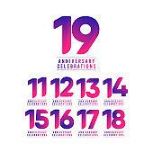 19 Years Anniversary Celebrations Vector Template Design Illustration