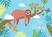 Postcard with a sloth sleeping on a branch. Vector graphics