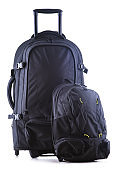 Large black tourist backpack with wheels isolated on white