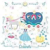 Set of elements of a fairy tale Cinderella isolated on a white background. Vector graphics.