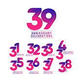 39 Years Anniversary Celebrations Vector Template Design Illustration