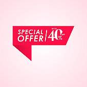 Discount Special Offer up to 40% off Label Vector Template Design Illustration