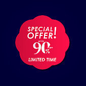 Discount Special Offer up to 90% off Limited Time Label Vector Template Design Illustration