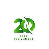 20 Years Anniversary green Celebration Vector Template Design Illustration