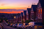 Identical English terraced houses at sunset in Crouch End, London