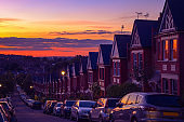 Identical English terraced houses at sunset in Crouch End, North London