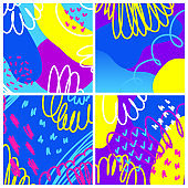 Abstract creative doodle background. Hand drawn cover template for design birthday card, summer party invitation, seasonal sale, childish t shirt picture or bag print etc.