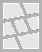 Set of torn white note. Scraps of torn paper of various shapes isolated on gray background. Vector illustration.